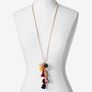 Pom & Tassel Cluster Pendant Necklace